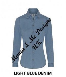 Hand Made Adult Ladies Denim Shirt Mural Print UK Sizes 8-16