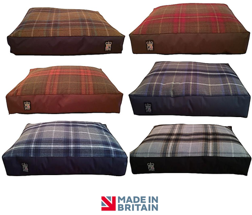 Country Range Luxury Duvet Mattress with Box Border Dog Bed | Tartan Check Fabric | Hand Made To Order | Machine Washable