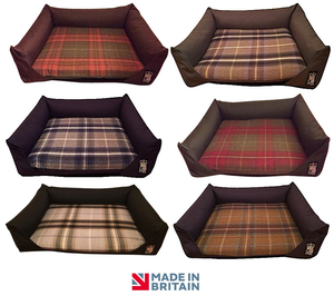 Country Range Luxury Duel Sided Drop Front Sofa Dog Bed | Tartan Check Fabric | Hand Made To Order | Machine Washable