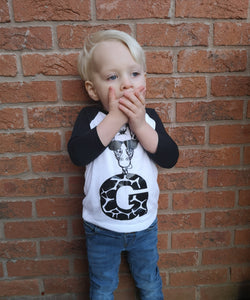 Hand Made Personalised Letter Cool Giraffe Shirt