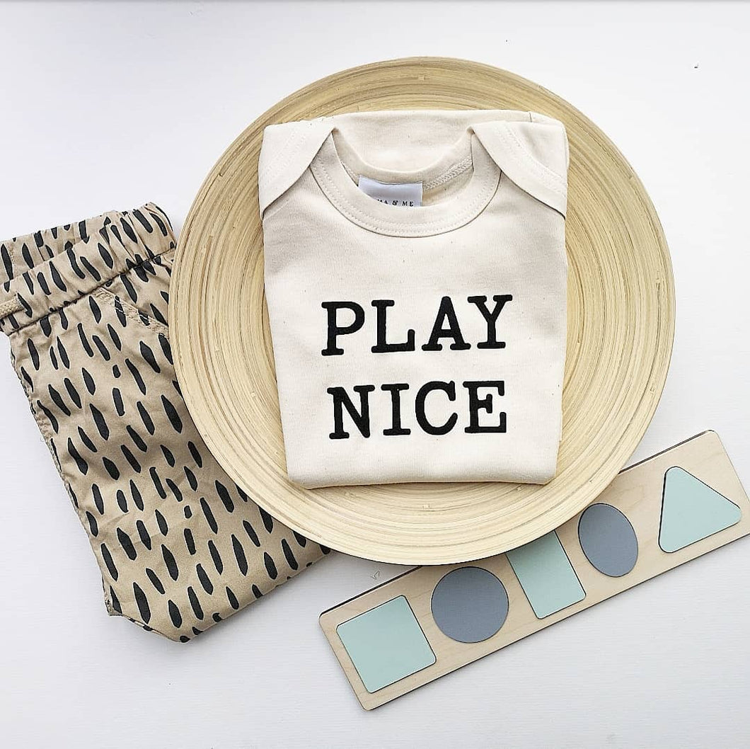 Hand Made Children's Vests & T-shirts 0-3M to 5 Yrs Play Nice Print