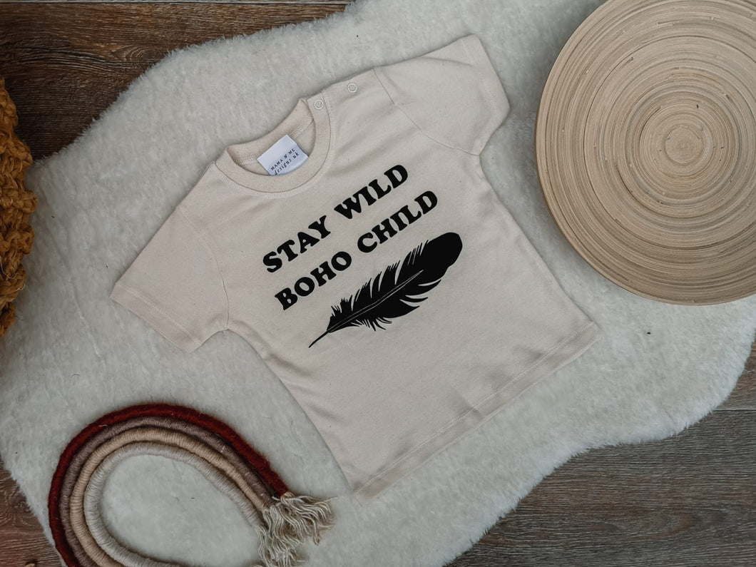 Hand Made Childrens Vests, Bodysuits & T-shirts 3-6M to 11 Yrs Stay Wild Boho Child