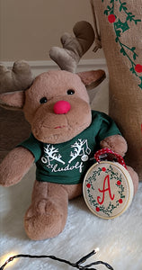 Christmas Reindeer Teddy With Personalised Jumper Top