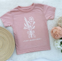 Load image into Gallery viewer, Hand Made Children's Vests T-Shirts 0-3M to 5 Yrs Plant. Bloom. Thrive
