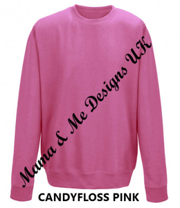 Hand Made Beautiful Print Adult Ladies Sweatshirt/Jumper UK Sizes 8-22