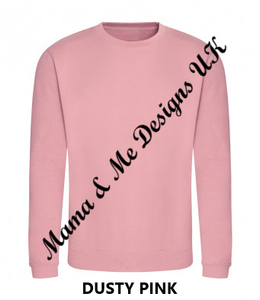Hand Made Personalised Adult Unisex Sweatshirt/Jumper UK Sizes 8-24