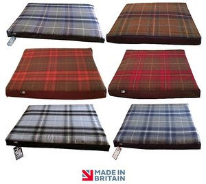 Country Range Luxury Dog Bed Snooza Crash Mat Pad | Tartan Check Fabric | Hand Made To Order | Machine Washable