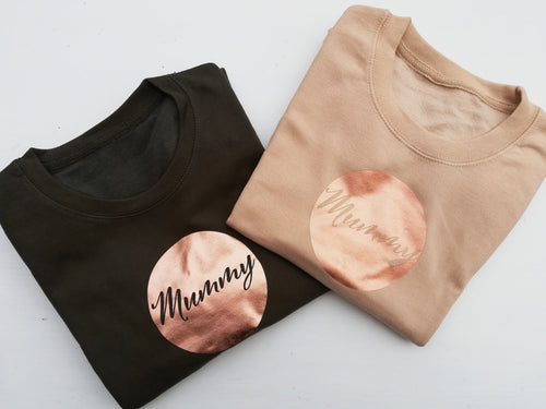 Mummy cut fron a high quality Copper Surround vinyl to Jumpers by Mama & Me Designs UK
