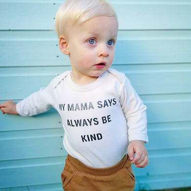 Hand Made Childrens Vests & T-shirts 3-6M to 5 Yrs My Mama Says Always Be Kind Print