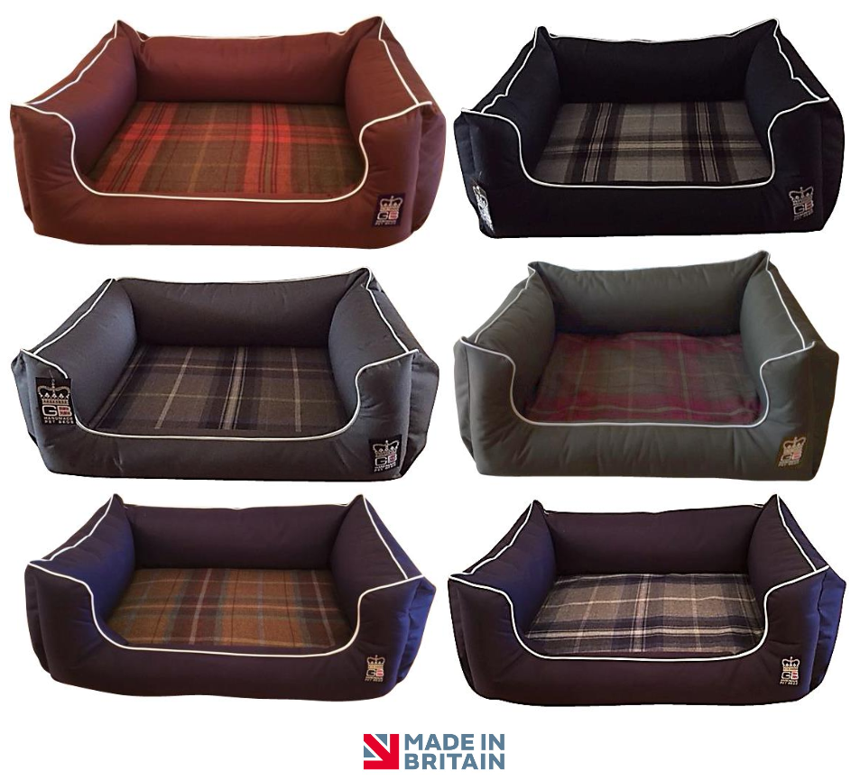 Country Range Luxury Orthopaedic Memory Foam Dog Bed | Tartan Check Fabric | Hand Made To Order | Machine Washable