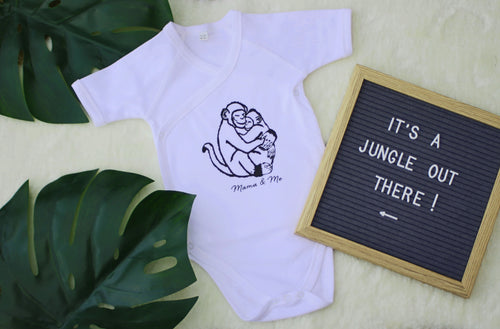Hand Made Monkey Print Children's T-Shirt/Short Sleeve Vest 0-3M to 5 Yrs