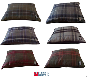 Country Range Luxury Dog Cushion Pillow Bed | Tartan Check Fabric | Hand Made To Order | Machine Washable