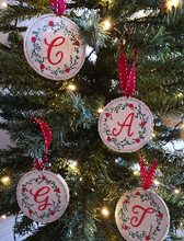 Load image into Gallery viewer, Christmas Tree Decoration With Personalised Initial Hand Made & Designed