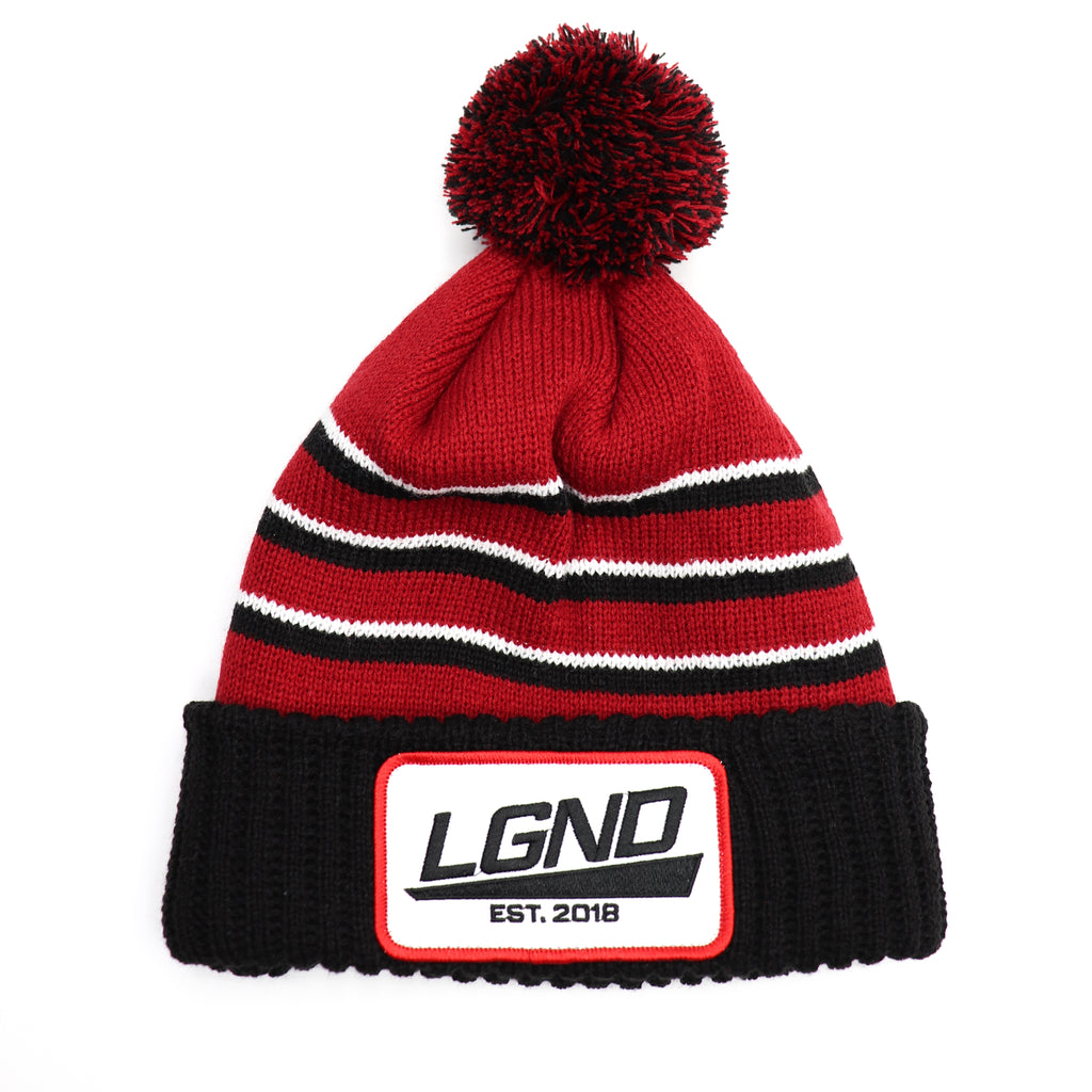 Red Pom Patch Beanie