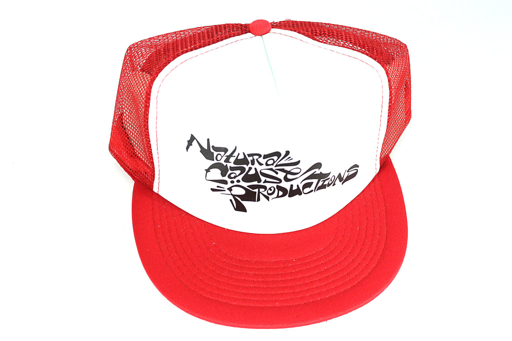 "Red/White ""Script"" Trucker Hat"