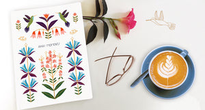 Aha! moments journal/notebook with an illustration of hummingbirds and flowers on the cover
