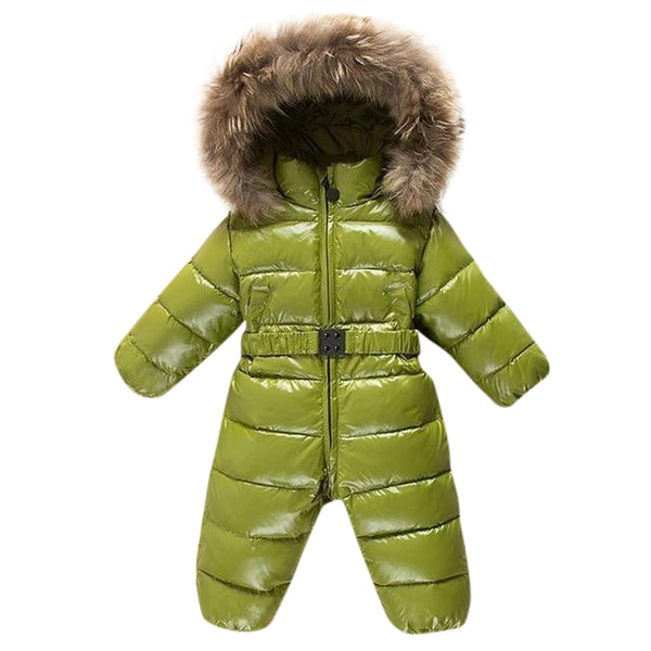 MOF Kids baby girl winter jumpsuit infant snowsuit nature fur