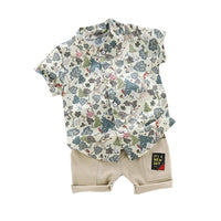 MOF Kids boys clothing summer print set suit for kids