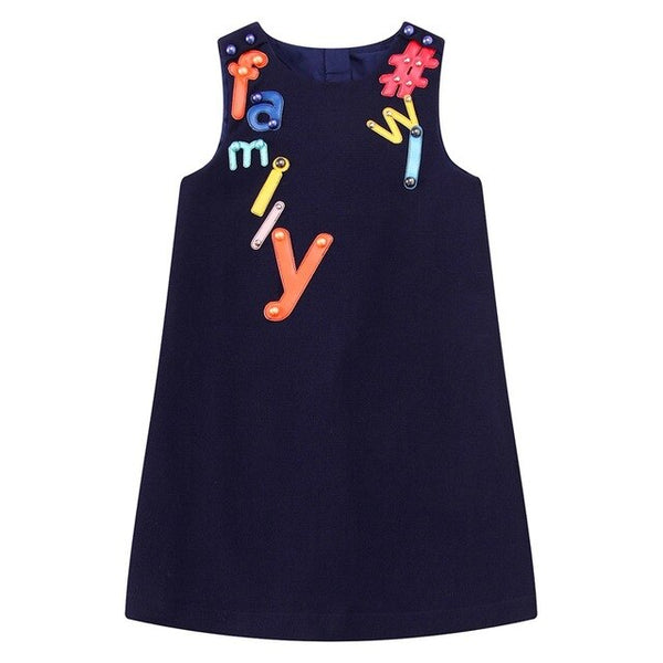 MOF Kids girls jersey dress letters embroidered