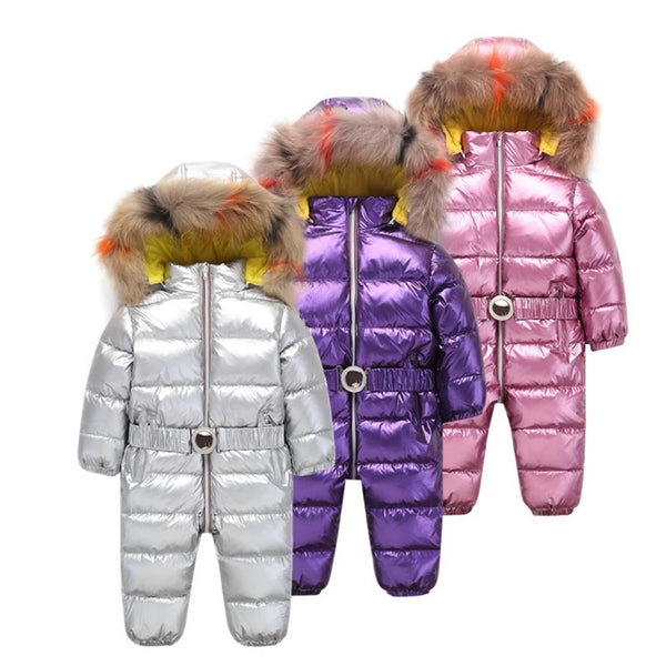 MOF Kids children winter jumpsuit white duck down fill metallic