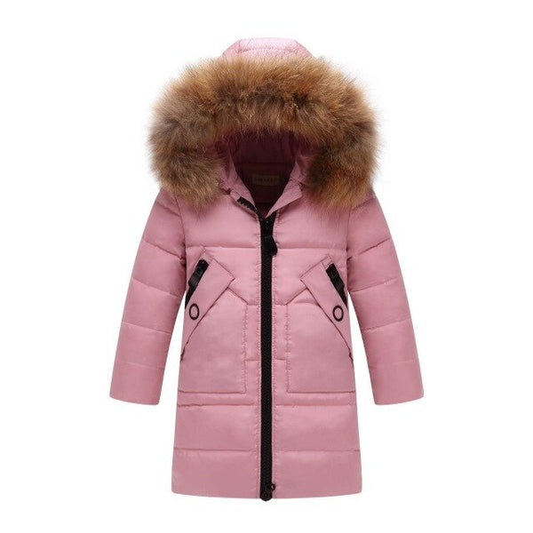 MOF Kids winter coats girls hooded down parka thicken fur