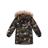 MOF Kids winter parka coat camouflage hooded long puffer coat with fur