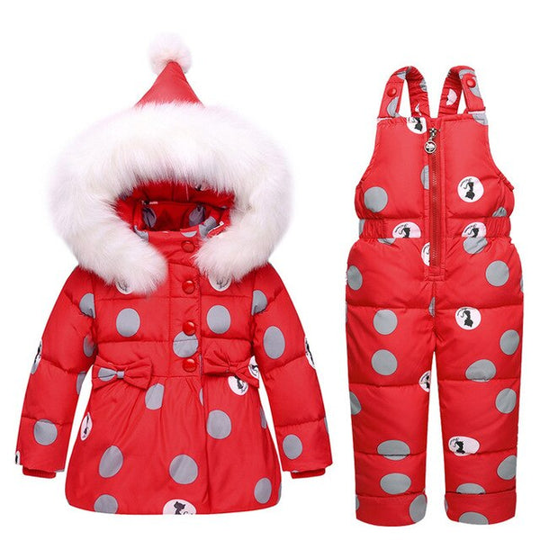 MOF Kids girls snowsuit toddler puffer hooded jacket & bib pants