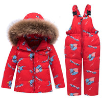 MOF Kids baby girls snowsuit toddler puffer hooded jacket & bib pants