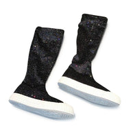MOF Kids girls hi-top boots sparkly flock material