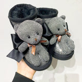 MOF Kids winter bear patch ankle boots