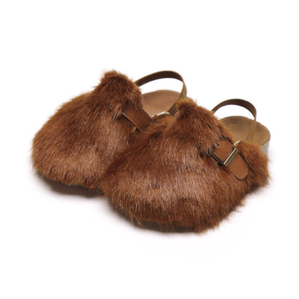 MOF Kids girls autumn casual slippers with fur