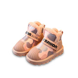 MOF Kids winter leather camouflage snow boots