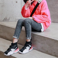 MOF Kids new trendy shoes buckle ribbon high top sneakers