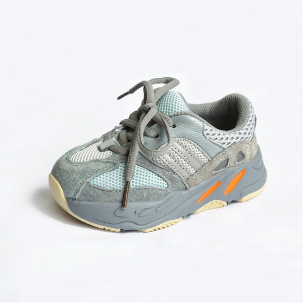 MOF Kids light gray textured strap & lace up sneakers