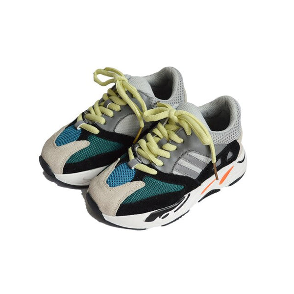 MOF Kids gray shoes lace-up mesh sneakers