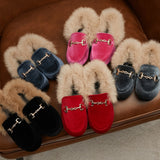 MOF Kids winter fur velvet loafers baby girls princess flats children boys warm shoes toddler slip on loafers with buckle moccasin