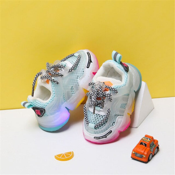 MOF Kids infant toddler shoes 2020 new baby light up shoes high quality baby girl infant toddler sneakers breathable mesh colorful sole