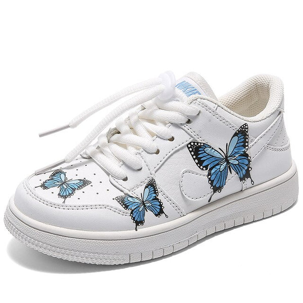 MOF Kids autumn kids casual sneakers baby girls butterfly slip on shoes children brand casual sneakers boys mesh white sneakers trainers