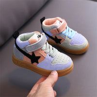MOF Kids toddler shoes autumn new kids leather casual sport shoes high top comfortable non-slip baby sneakers for boy girl