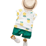 MOF Kids baby boys white t-shirt & shorts set fruit print