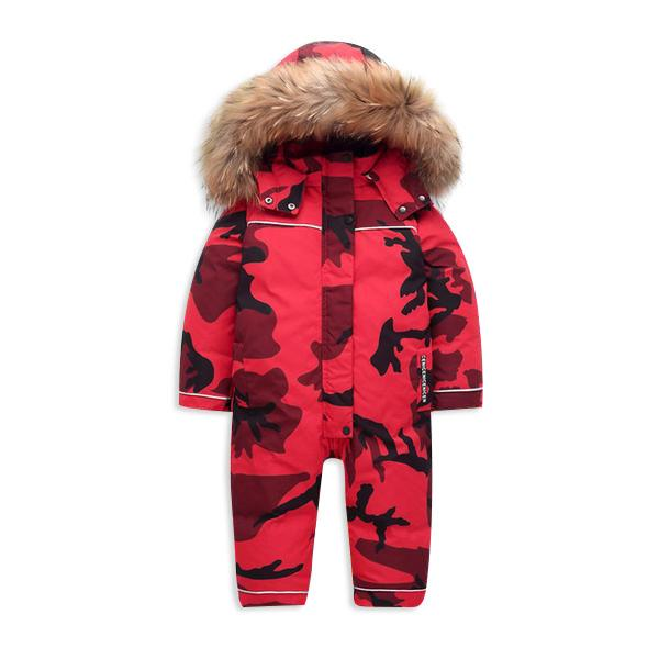 MOF Kids snow suit camo hooded fur snowsuit MOF for kids Red 3T