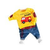 MOF Kids boys autumn T-shirt & jeans car print