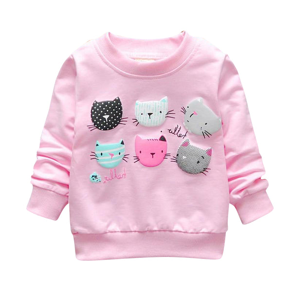 MOF Kids infant toddler baby girl boy autumn sweatshirt cat butterfly giraffe print