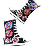 MOF Kids autumn hi-top shoes rhinestone canvas hi-top sneakers for girls