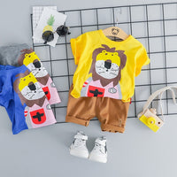 MOF Kids baby boy clothing set summer t-shirt & shorts cartoon print