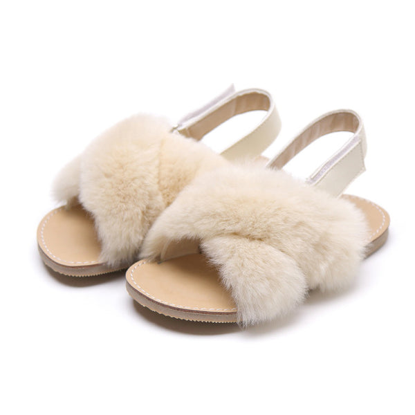 MOF Kids girls fur cross-strap sandals
