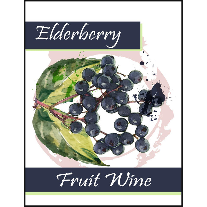 Elderberry Fruit Wine Self Adhesive Wine Labels, pkg of 30