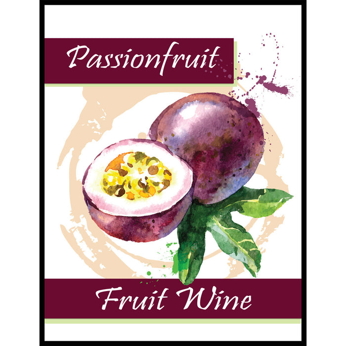 Passionfruit Fruit Wine Self Adhesive Wine Labels, pkg of 30