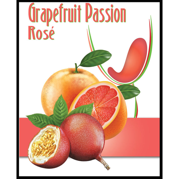 Grapefruit Passion Rose Fruit Wine Self Adhesive Wine Labels, pkg of 30