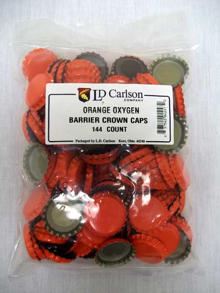 Orange Beer Bottle Caps (Crowns) - 144ct - with Oxy-Liner